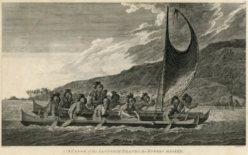 John Webber, an artist aboard British Navigator James Cook's ship, represents Hawaiians sailing a double-hulled canoe. Image: Bernice Pauahi Bishop Museum