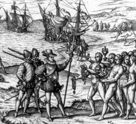 Columbus landing on Hispaniola, greeted by Arawak Indians. Image: Theodor de Bry