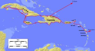 Map of the second voyage of Cristopher Columbus. Image: Keith Pickering