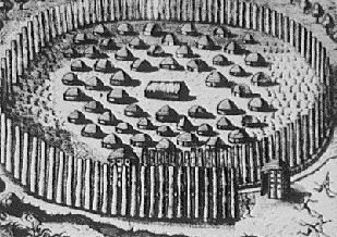 Sketch of Timucua village. Image: Theodor de Bry