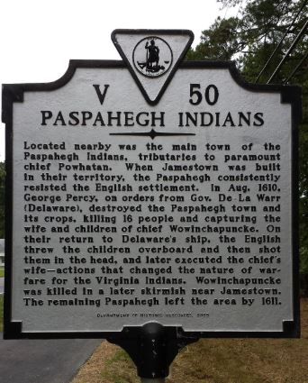 Paspahegh historical marker. Image: Department of Historic Resources