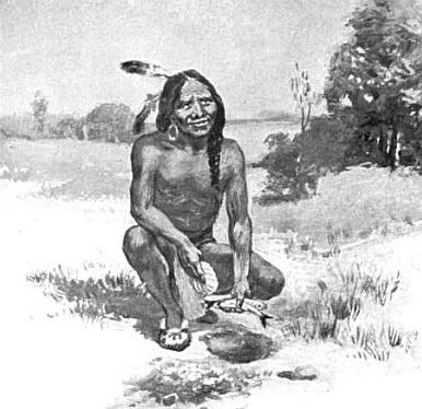 Squanto or Tisquantum teaching the Plymouth colonists to plant corn with fish. Image: Garland Armor Bricker