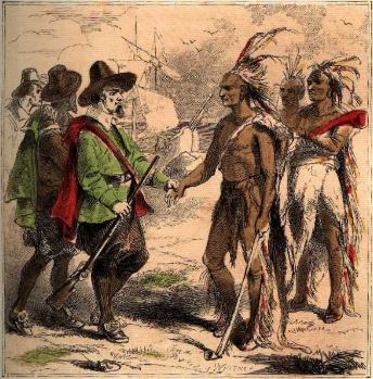 Interview of Samoset with the Pilgrims. Image: Baharris.org