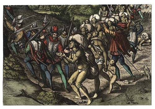 Native Americans enslaved by Spaniards. Image: Theodor de Bry