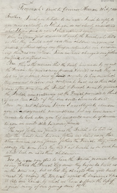 Transcription of speech made my Shawnee Chief Tecumseh, August 20, 1810 during his meeting with Indiana Territory Governor William Henry Harrison. Image: Indiana Historical Society.
