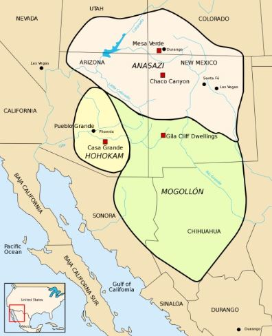 Map showing Anasazi, Hohokam, and Mogollon settlements in what is now known as New Mexico and Arizona. Image: National Library of Medicine