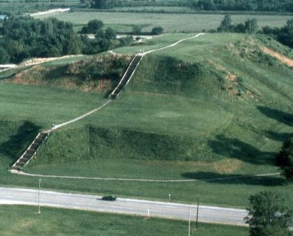 Remains of a mound at Cahokia Mounds State Historic Site, a few miles west of Collinsville, Illinois. Image: Cahokia Mounds State Historic Site
